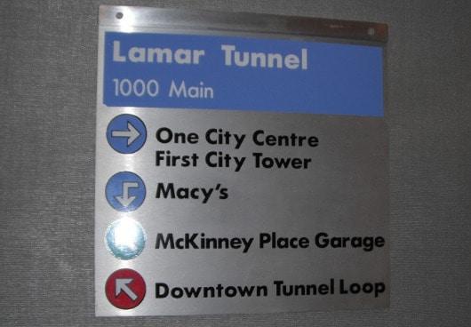 Signs in Underground Tunnels in Houston