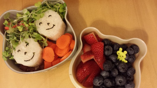 Rice Ball Faces with Sprout Hair