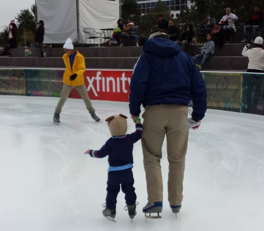 CJ and James at the Ice at Discovery Green