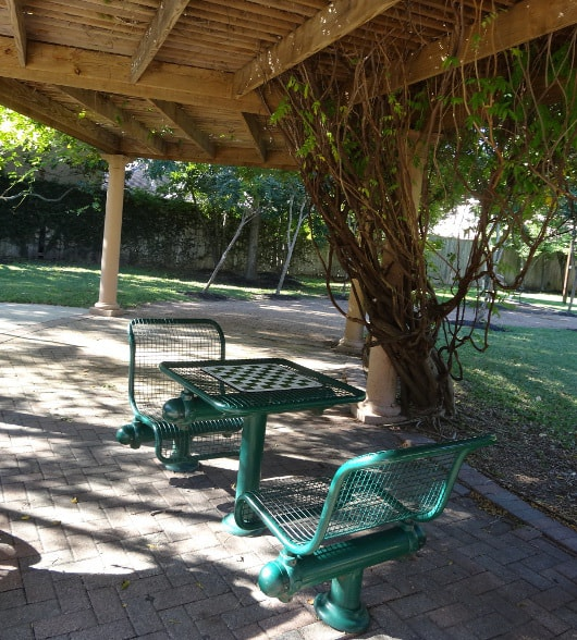 Picnic Tables and Checkers Set at Huffington Park