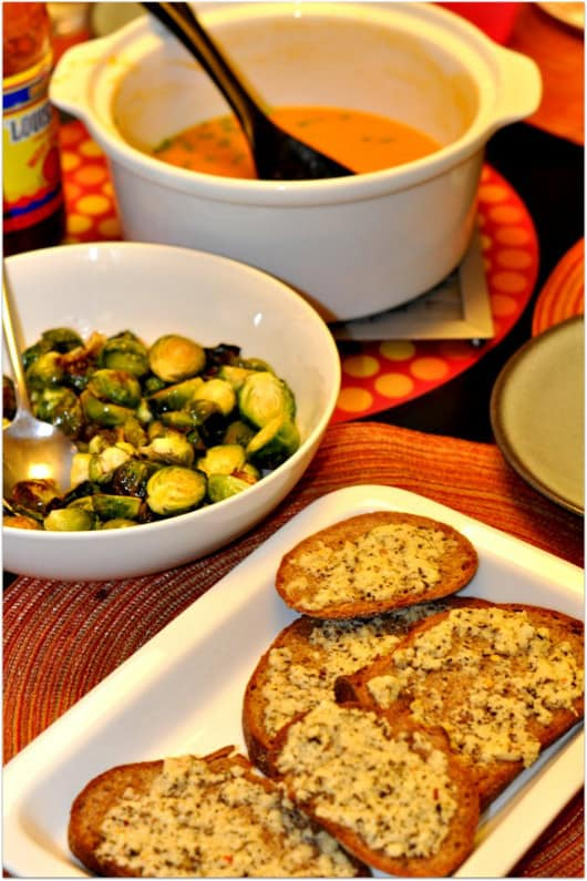 Sweet Potatoe Soup, Brussels Sprouts and No Garlic Garlic Bread