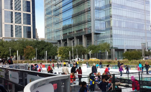 Ice at Discovery Green from the Side