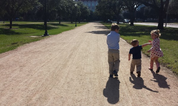 JoeBrookeJames Playing on Path in Hermann Park