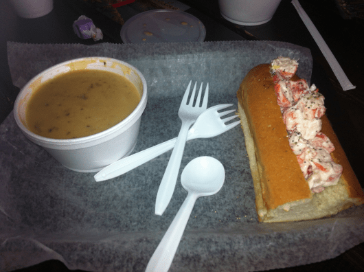 Lobster and Crab Roll and Mushroom Brie Soup