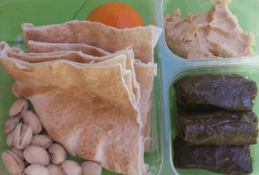 Pita Bread Hummus and Grape Leaves