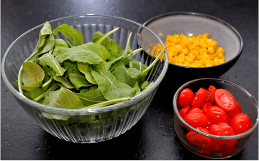 Spinach Corn and Tomatoes