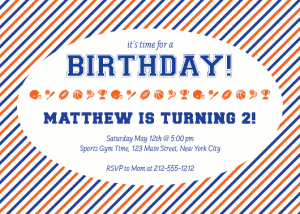 Julie Verville sports birthday invite orange and blue