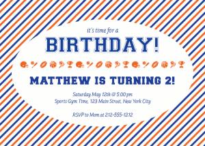 Julie Verville sports birthday invite orange and blue