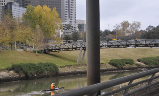 Kayak on Buffalo Bayou at Sesquicentenial Park