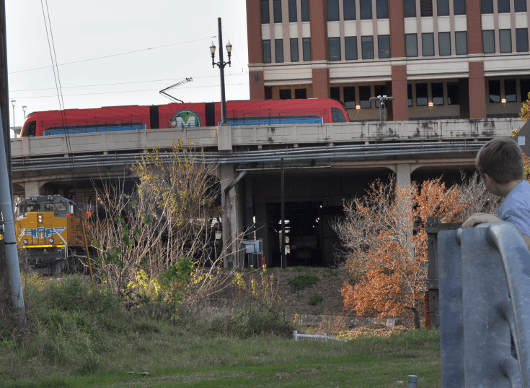 METRORail and Freight Train at UHD
