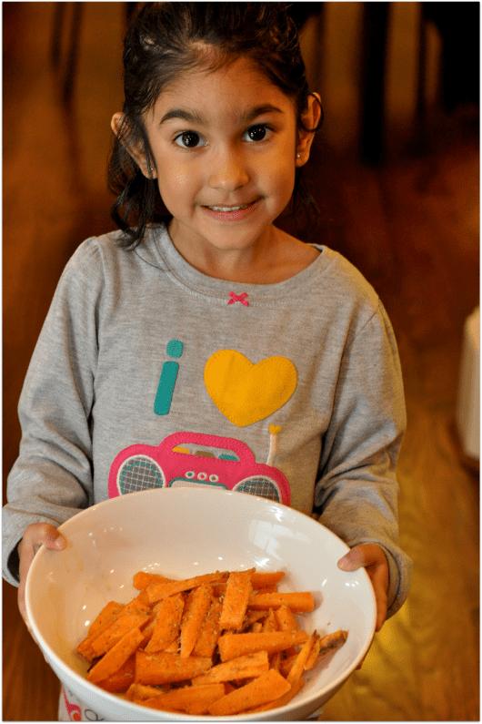 Pretty Girl Helping with Sweet Potatos