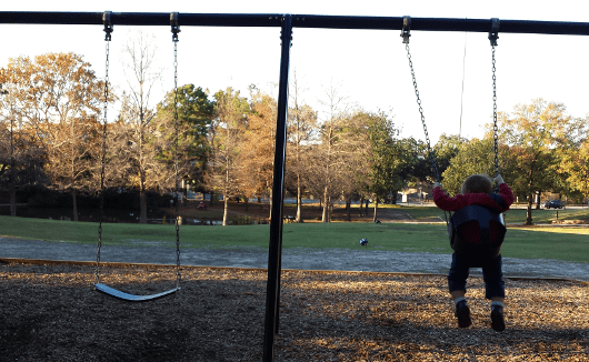 Swinging at Sam Houston Park