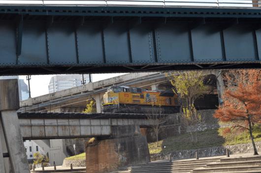 Train over Buffalo Bayou in Downtown Houston