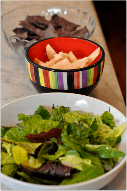 Chips and Salad for Enchiladas
