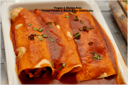 Vegan and Gluten Free Sweet Potato and Black Bean Enchiladas