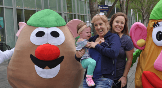Terry with Mr and Mrs Potato Head