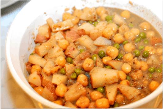 Chickpeas Potatoes and Peas