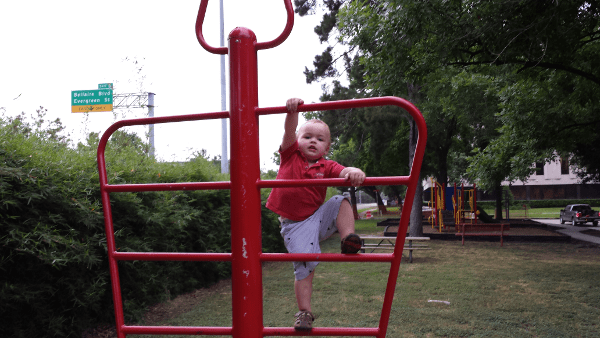 Climbing by the highway at Ware Family Park