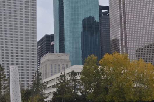 Houston City Hall as seen from Buffalo Bayou