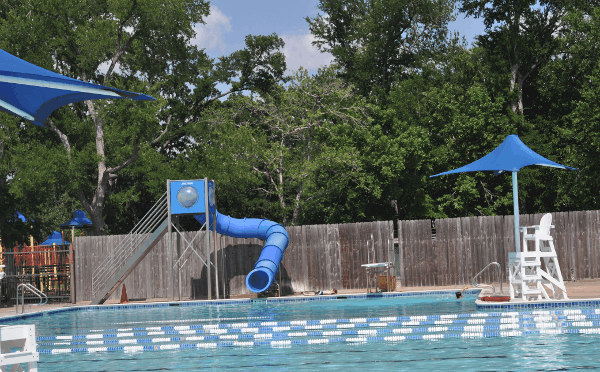 Slides and Diving Board at Evergreen Park Pool