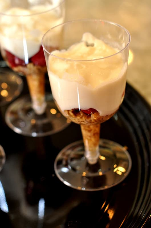 Yogurt Parfait in wine glasses