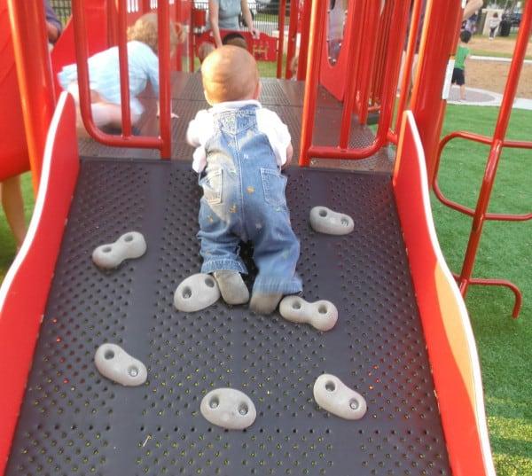 Baby Climbing Fire Truck at Fire Truck Park