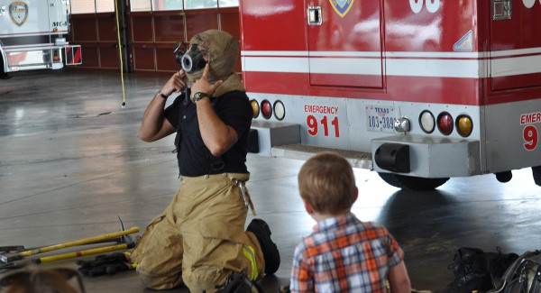 Fireman Suiting Up at Houston Fire Station 8