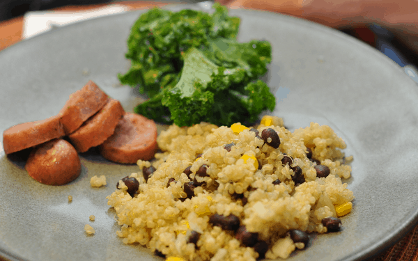 Summer Dinner with Kale Salad Quinoa and Sausage