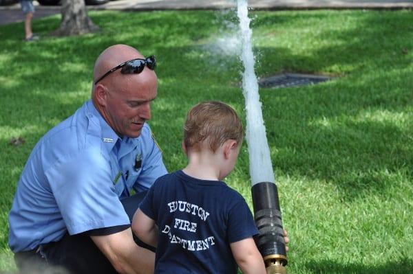 James Spraying Fire Hose