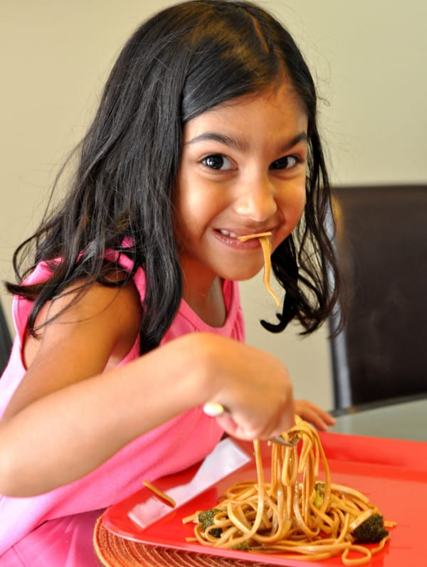 Kids eating lo mein
