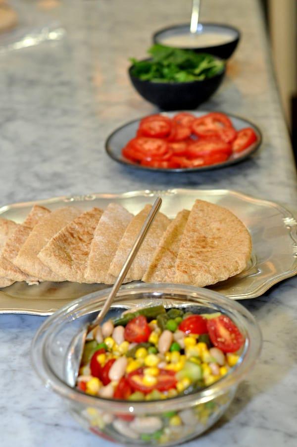 Beans, Pita Bread, Tomato and Spinach