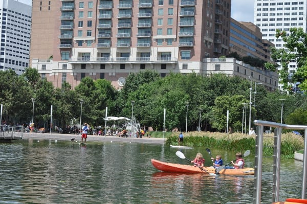 Kids on Kayak at Discovery Green