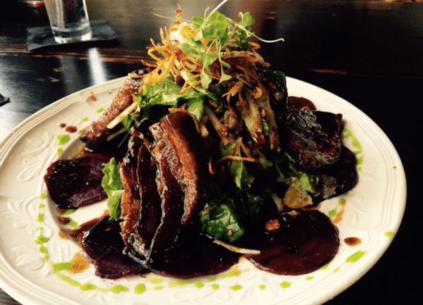 Roast Beef and Pork Belly Salad at Ruggles Black
