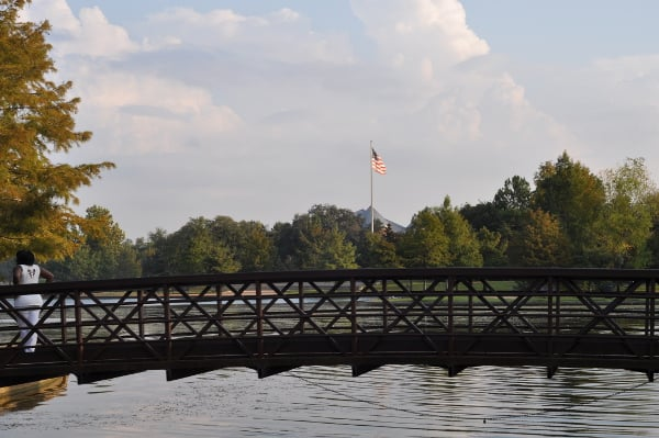 Hermann Park Bridge and Flag