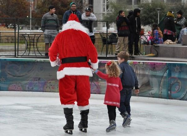 Skating with Santa at Discovery Green