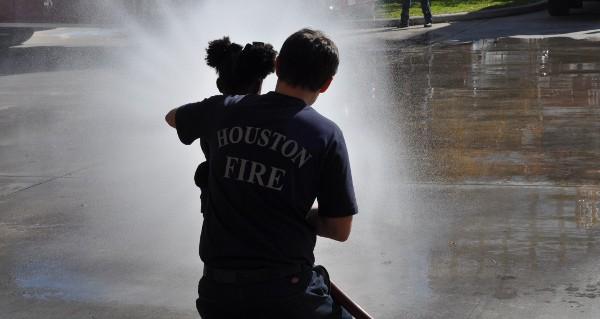Fire Station 8 Spraying Fire Hose