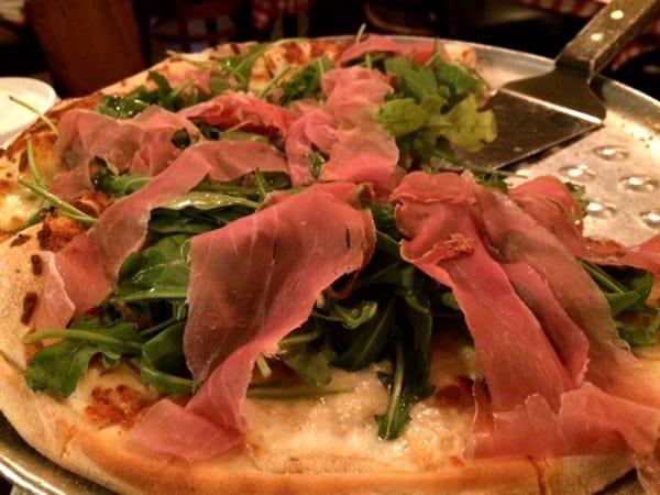 Proscuitto E arugula at Candelaris Pizzeria