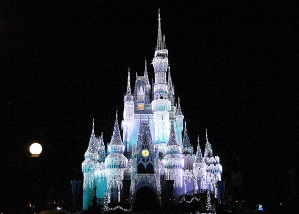 Disney World Cinderella Castle during the holidays