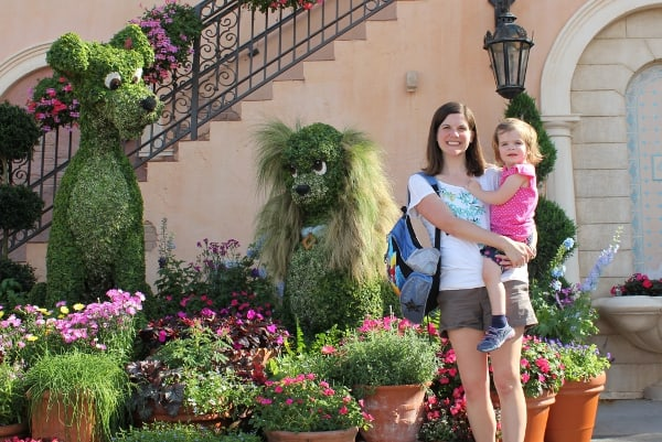 Lady and the Tramp topiary during the international garden show in the spring at epcot Disney World