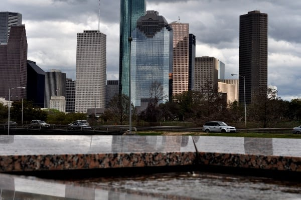 Downtown Houston Skyline from the Houston Police Officer Memorial with Water