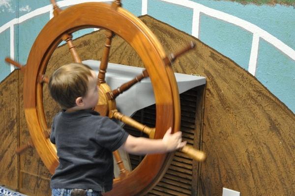 James at Wheel at Houston Maritime Museum