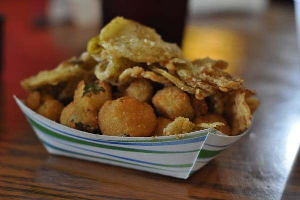 Potato Patch Sample of Fried Pickles and Okra