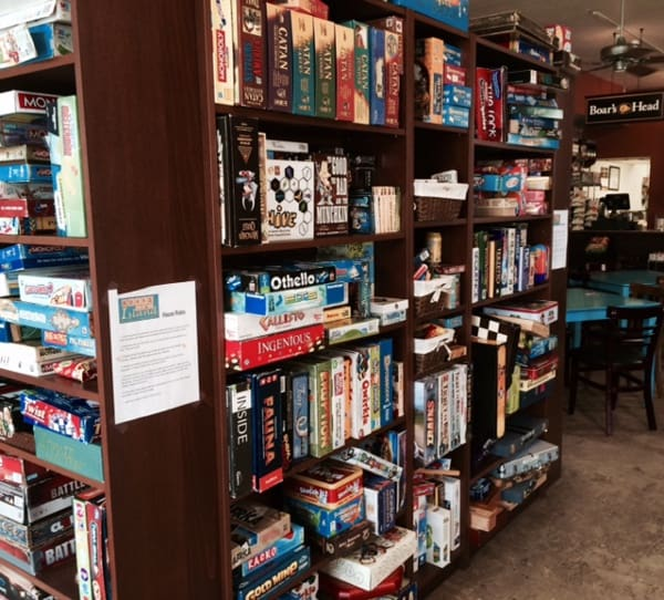 Board Game Island in Galveston Shelf of Games