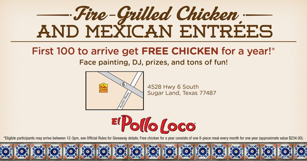 Pollo Loco Sugarland free chicken