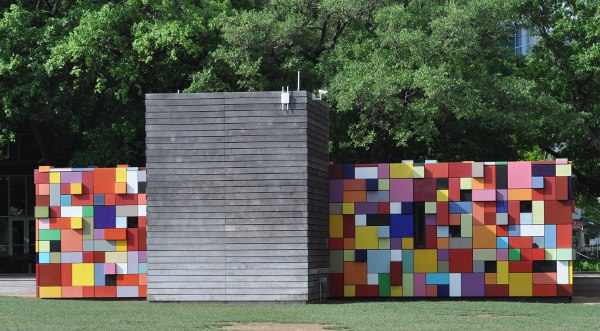 Red Block Wall at Discovery Green