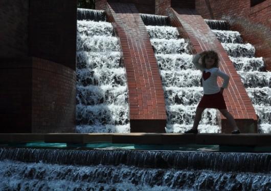 Walking Across Waterfall at Wortham