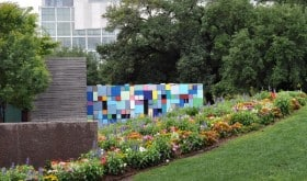 Blue Block Wall and Flowers at Discovery Green