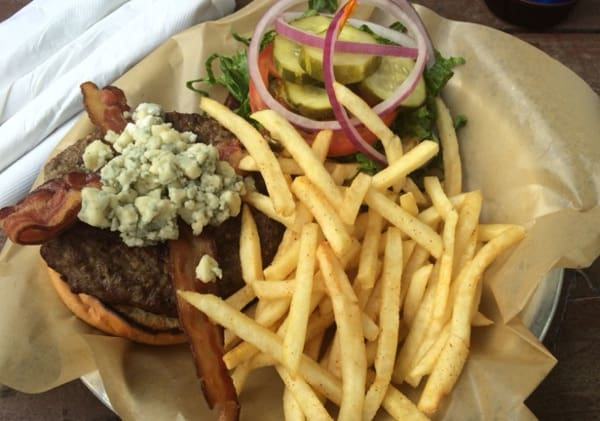 Blue Hog hamburger at Cedar Creek