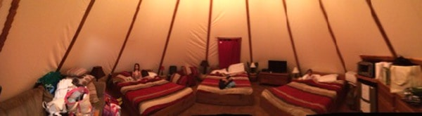 Glamping at Tipis at Geronimo Creek Retreat