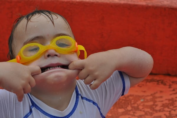 Goggles and Funny Face at Splashpad